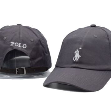 The New POLO Embroidery Gray Sport Outdoor Cotton Baseball Cap Hat