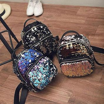 Women Girls New Backpack Fashion Sequins PU Leather Rucksack Shoulder School Bag