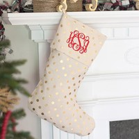 Gold Dot Christmas Stocking ~ with or without monogram