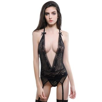 Low V-Neck Lingerie Top with Garter Clips