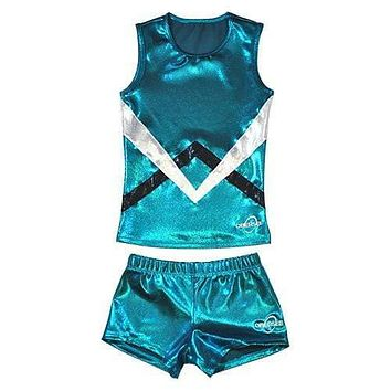 O3CHSET002 - Obersee Cheer Dance Tank and Shorts Set - Green Chevron