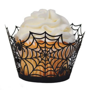 12 Pcs Black Halloween Spider Ghost Cupcake Case Wrappers Wraps Party Decor