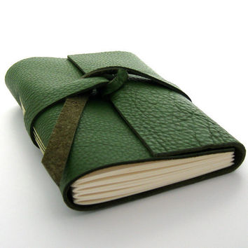Green Leather Journal and Sketchbook Fields by peaseblossomstudio