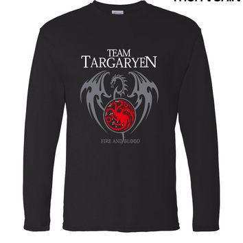 Game of Thrones Targaryen Fire & Blood Long Sleeve Men T Shirts 2017 Spring Summer 100% Cotton Male T-Shirts Hipster Tops Tees