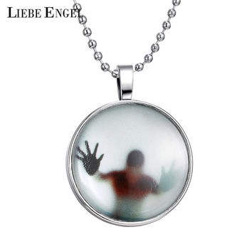 LIEBE ENGEL New Shadow Men Style Necklace Glass Cabochon Chain Statement Pendant Necklace Glow In The Dark Nightlight Collares