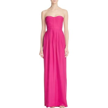 Parker Womens Silk Pleated Evening Dress