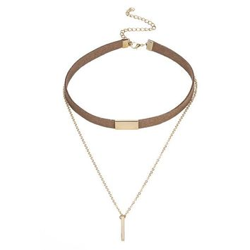 Long necklace Allergy Y Style Chain Long Necklaces & Pendants Rose Gold Strip Bar Jewelry For Women