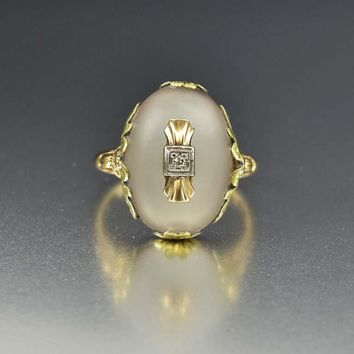 Art Deco Frosted Rock Crystal and Diamond Ring