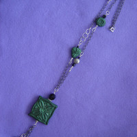 Green necklace. Necklace made with green polymer clay. Large and stylished necklace. Black and green necklace.