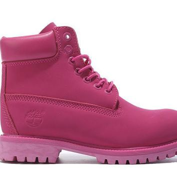 Men's Timberland Icons 6-inch high-quality rose red suede leather monochrome boots