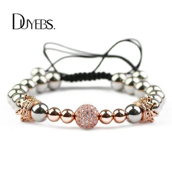 DUYEBS Crown Charms Bracelet Men 6/8mm Stainless Steel Beads Zircon CZ Braided Rope Women Gold Color Bangle Fashion Jewelry Gift