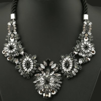 Crystal Statement Bib Necklace-Chunky Crystal Flower Collar Necklace