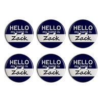 Zack Hello My Name Is Plastic Resin Button Set of 6