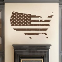 ik2252 Wall Decal Sticker Card USA Flag living room bedroom office