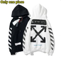 OFF-WHITE Fashion Casual Striped Arrow Print Letter Hooded Loose Sweatshirt