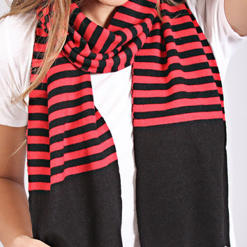 festive striped scarf - black