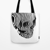 Skull Lines Tattoo Tote Bag by lostanaw