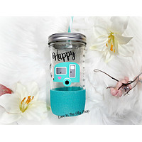 Happy Camper Tumbler (Glass Tumbler)