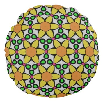 Stained Glass Floral Look Round Pillow