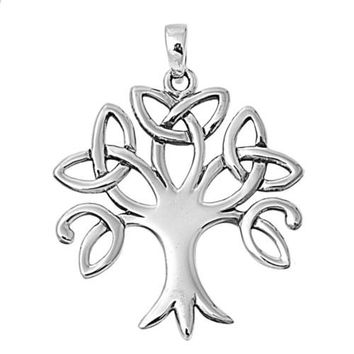 "Sterling Silver Tree Worship Pagan Pendant 28MM (Free 18"" Chain)"