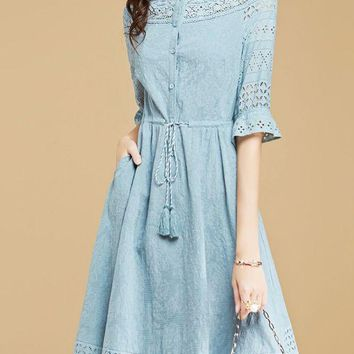 Blue Elegant Bateau/boat Neck Frill Sleeve A-line Guipure lace Prom Dresses