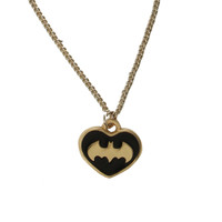 DC Comics Batman Black And Gold Tone Heart Necklace