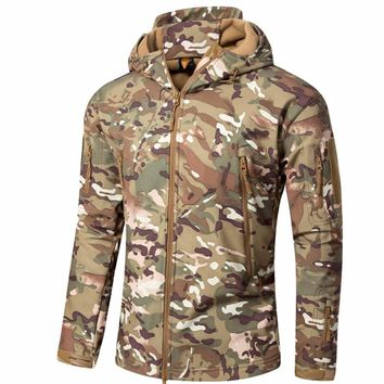 Shanghai Story Men's Jacket Coat Water-resistant Luker Shark Skin Soft Shell Hoodie Military Airsoft Jackets