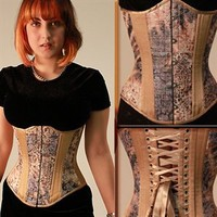 Brown, Gold and Cream Tapestry Corset by Timeless Trends