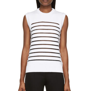 Alexander Wang Bleach White Multigauge Striped Peelaway Tank Top