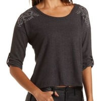 Split-Back Rhinestone Fleece Top by Charlotte Russe