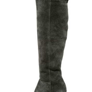 Kensie Ginette Grey Suede Leather Knee High Heel Boots