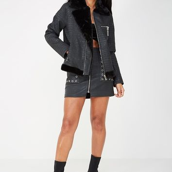 CROC SHEARLING BIKER JACKET - BLACK