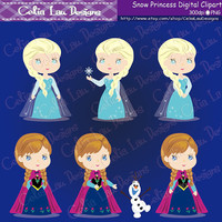 Snow Princess Clipart(P001),Cute Snow Princess clip art for Personal and Commercial /Card Design/Scrapbooking/Web Design/INSTANT DOWNLOAD