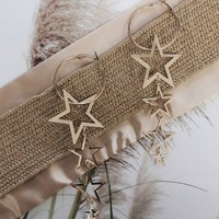 Closure Gold Tiered Star Hoop Earrings
