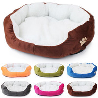 Cute Paw Print Cats Puppy Beds Comfortable Pets Dog Kitten Beddings House Nest Pad Soft Fleece Bed