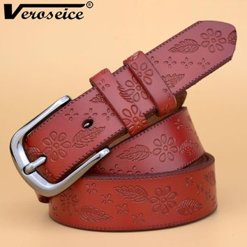 [Veroseice] Hot Sale Women Belt Genuine Leather Black Pin Buckle Women Waist Belt Cow Leather Flower Strap Female Waistband