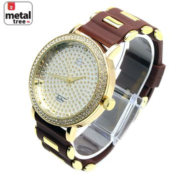 Jewelry Kay style Men's Rapper Hip Hop Iced Out Gold Plated Silicone Band Unique Watch 8086 GDBR