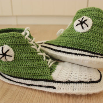Crochet Converse Shoes, Converse Slippers, Crochet Converse Slippers, Crochet Converse, Knitted Converse, Crochet Sneakers, Knitted Slippers