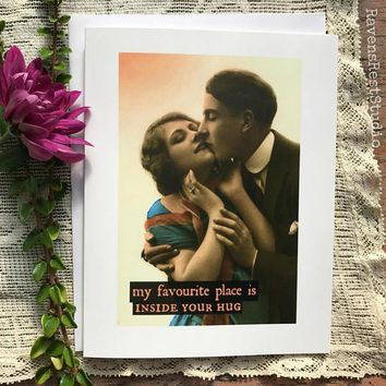 My Favourite Place Is Inside Your Hug Funny Vintage Style Anniversary Card Valentines Day Card Love Card FREE SHIPPING