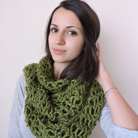 FREE SHIPPING Extra long scarf Knit wool infinity scarf Olive green scarf Circle warm scarf Bulky and soft Eternity green scarf Loop scarf