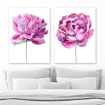 Watercolor Pink Purple Flower Peony Wall Art Decor, Watercolor Peony Flower Artwork, Watercolor Floral Bedroom Set of 2 Canvas or Print