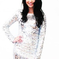 Plus Size Disco Diva Full Sleeve Sequin Dress