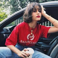 BALENCIAGA Summer Fashion Casual Classic Print Round Collar T-Shirt Top Red