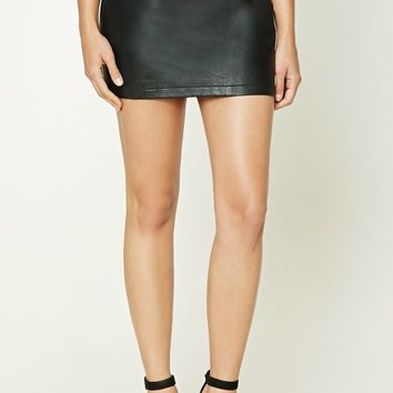Faux Leather Zip-Front Skirt
