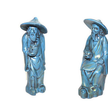 Vintage Asian Fisherman Blue Ceramic Fisherman Figurines Set of Asian Fishermen Chinoiserie Decor Fisherman - A Pair