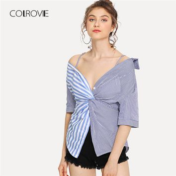 Blue Vacation Striped Twist Front Blouse Shirt New Button V Neck Summer Blouse Women Clothes Sexy Feminine Blouse
