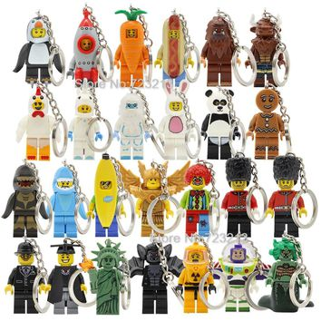 Graduate Unicorn Hot Dog Man Figure Keychain Statue Of Liberty Buzz Lightyear Medusa Rocket Boy key Building Blocks Toys