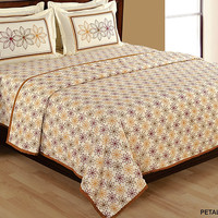 Brown Floral Bedding set with two matching pillow covers/90x108 inches/Bedspread/Bed sheets