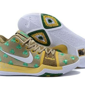 PEAP Nike Kyrie Irving 3 Dark Gold/Green Sport Shoes US7-12
