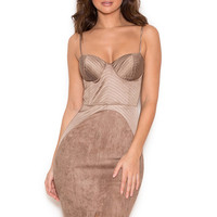 Clothing : Bodycon Dresses : 'Andreia' Taupe Satin and Suedette Bustier Dress